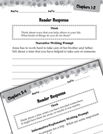 Sarah, Plain and Tall Reader Response Writing Prompts (Gre