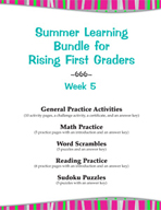 Summer Learning Bundle for Rising First Graders - Week 5