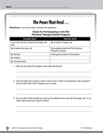 Test Prep Level 2: The Paws That Heal Comprehension and Cr