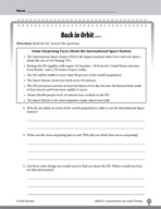 Test Prep Level 3: Back in Orbit Comprehension and Critica
