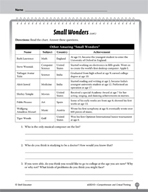 Test Prep Level 3: Small Wonders Comprehension and Critica
