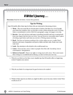 Test Prep Level 4: A Writer's Journey Comprehension and Cr