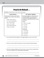 Test Prep Level 4: Proud to Be Mohawk Comprehension and Cr