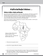 Test Prep Level 6: End Darfur's Violence Comprehension and