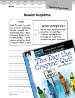 The Day the Crayons Quit Reader Response Writing Prompts (