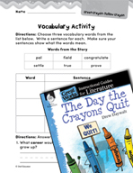 The Day the Crayons Quit Vocabulary Activities (Great Work