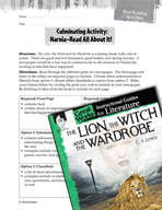 The Lion, the Witch and the Wardrobe Post-Reading Activiti
