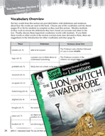 The Lion, the Witch and the Wardrobe Vocabulary Activities