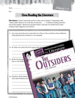The Outsiders Close Reading and Text-Dependent Questions (