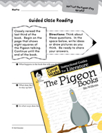 The Pigeon Books Close Reading and Text-Dependent Question