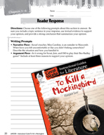 To Kill a Mockingbird Reader Response Writing Prompts (Gre
