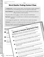 Vocabulary Acquisition and Use: Context Clues Practice