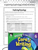 Writing Lesson Level 6 - Exploring Etymology