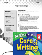 Writing Lesson Level K - My Think Page