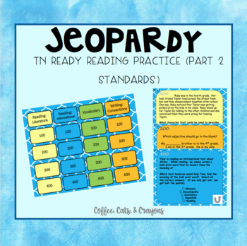 TN Ready ELA Part 2 Jeopardy Review Game *editable*