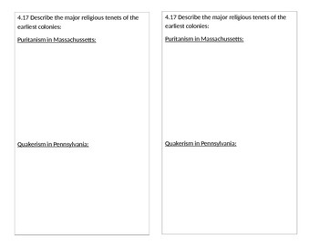 TN SS 4.17 Quakers vs. Puritans