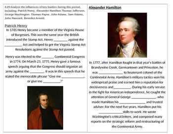 TN SS 4.29 Key Leaders of the American Revolution