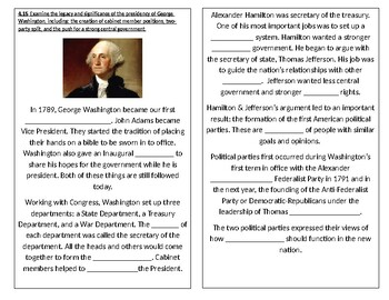 TN SS 4.43 George Washington's presidency: events, success