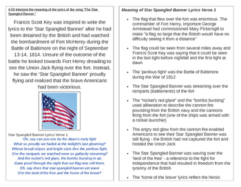 TN SS 4.50 Interpret the meaning of the Star Spangled Banner