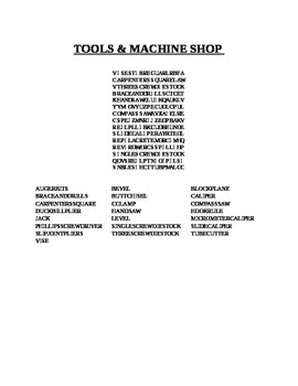 TOOLS & MACHINE SHOP WORD SEARCH