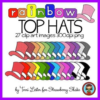 TOP HATS Rainbow Clip Art Set - 27 images