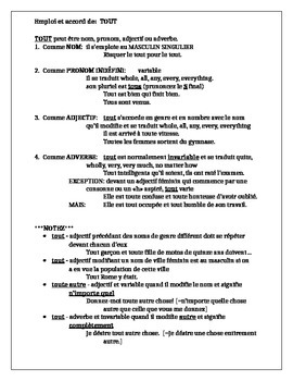 TOUT notes and worksheet