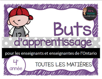 Buts d'apprentissage 4e année (Ontario) - Learning Goals i