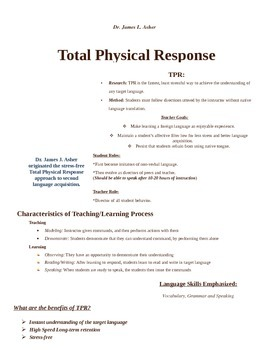 TPR / Total Physical Response Handout
