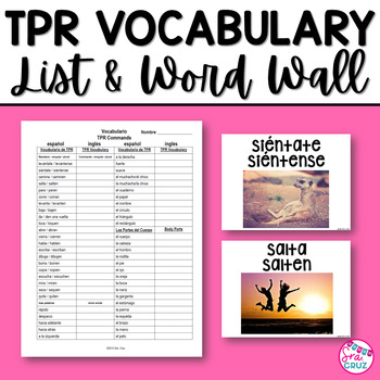 TPR Vocabulary List and Word Wall