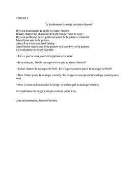 TPRS French 1 reading (160 words): Le bonhomme de neige qu