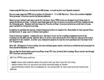 TPRS story outlines for Mi Vida Loca, Episodes 1 - 11