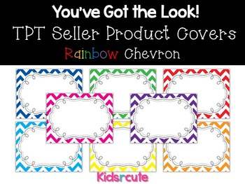 TPT Sellers Product Covers~ Rainbow Chevron with Frame {Ki