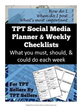 TPT Social Media Planner, Organizer, Weekly Checklists