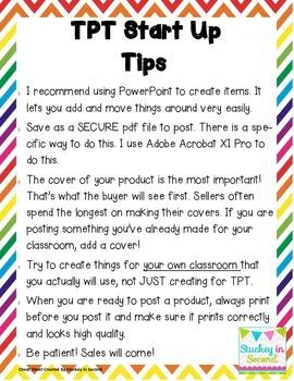 TPT Start Up Tips (My Tips to Start Selling on TPT)