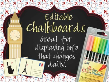 TRAVEL - Classroom Decor: editable chalkboard  POSTERS / B
