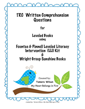 TRC Written Comprehension Questions for Fountas & Pinnell,