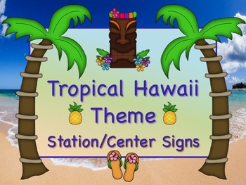 TROPICAL HAWAII Themed Station/Center Signs Great Classroo