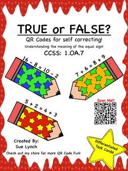 TRUE or FALSE 1.OA.7 Understanding equal sign: Math Games