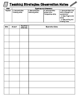 TSG Observation Recording Sheet for Multiple Students: Physical