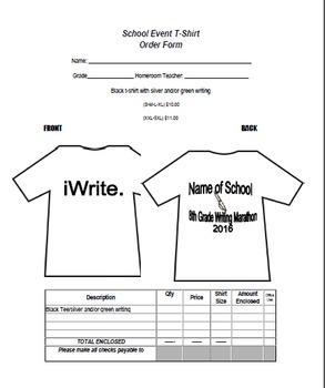 TShirt Order Form (editable)