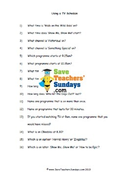 TV schedule worksheets (3 levels of difficulty)