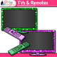 TV & Remote Clip Art {Rainbow Glitter Televisions for Clas