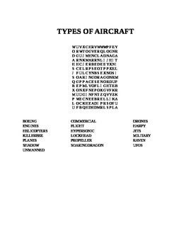 TYPES OF AIRCRAFT WORD SEARCH