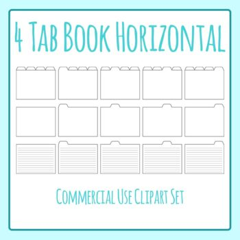 Tabbed Book / File Folder / Subject Notebook 4 Tab Clip Ar