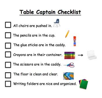 Table Captain Checklist - editable