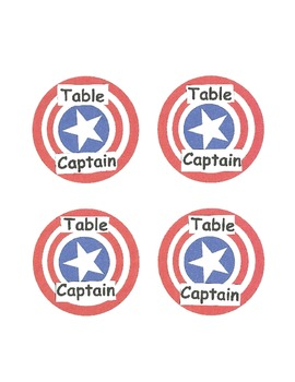 Table Captain Labels- Captain America Theme