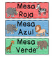 Table Color Labels - Jungle Theme