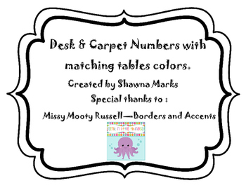 Table Color and Seat Numbers
