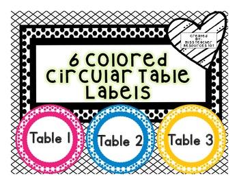Table Desk Labels - FREEBIE - Color Coded Labels - Circula