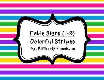 Table - Groups Desks Signs (1-8): Colorful Stripes